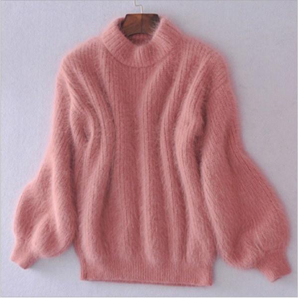 2016秋と冬ファッションランタンスリーブルーズタートルネックプルオーバーセーター女性増粘