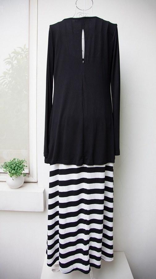 ボーダー マキシ ワンピース ドレス ドレス エスニック ロング ジャケット カーディガン セット お得 ツーピース ボヘミアン ブラック 黒 白 サイズ豊富 大きいサイズ 大人 サマー 可愛い 韓流 レイヤード ストラップ 韓国 ファッション (61-64) ※納期に10日から14日ほどかかります。