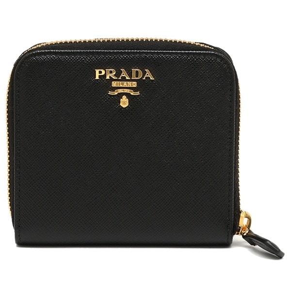 プラダ 財布 PRADA 1ML522 QWA F0002 SAFFIANO METAL ORO レディース 二つ折り財布 NERO