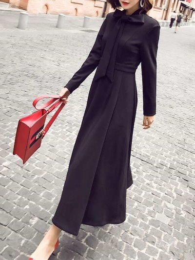 大人っぽい 女性らしい 長袖 リボン飾り 合わせやすい エレガント ロング ワンピース