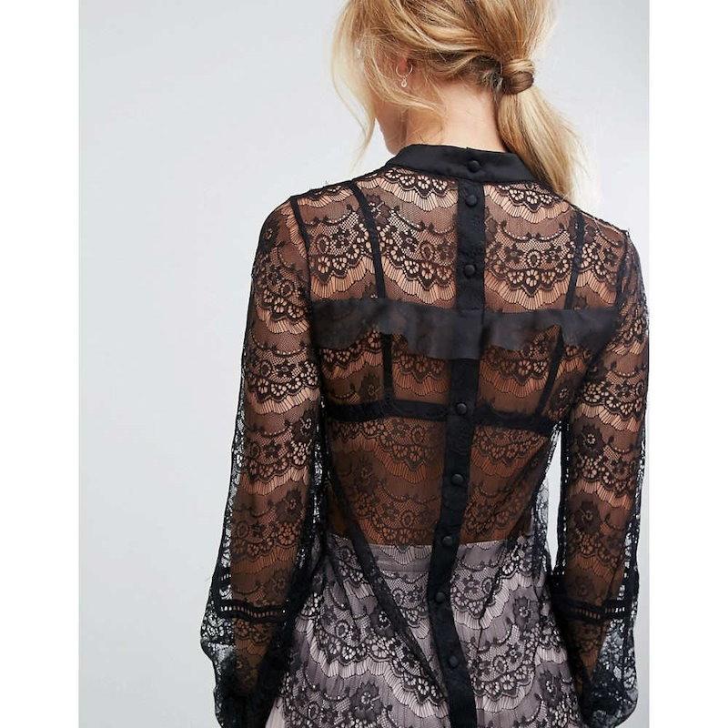 トルゥー ディカデンス レディース トップス ブラウス・シャツ【True Decadence Tall All Over Lace Blouse With Ruffle Detail】Black