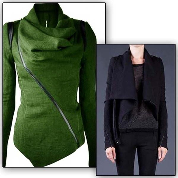 Women Irregular Jacket Warm Woolen Coat Blazer Zip Parka Windbreaker Coat LJ7844N-LMX
