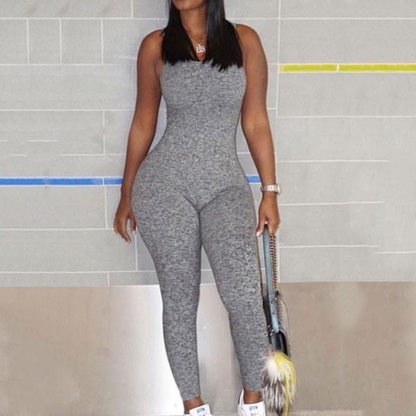 Sexy V Neck Sleeveless /Full Sleeve Backless Grey One-piece Skinny Jumpsuits