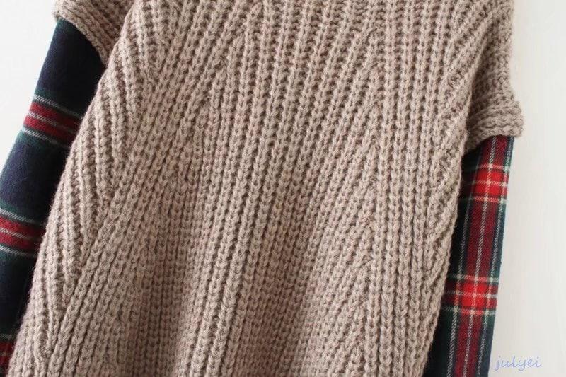 2枚重ね切り替えニット タートルネックニット 秋冬  レディース ロング袖 着痩せ    ゆったり、体型カバー  ブラック、カーキ