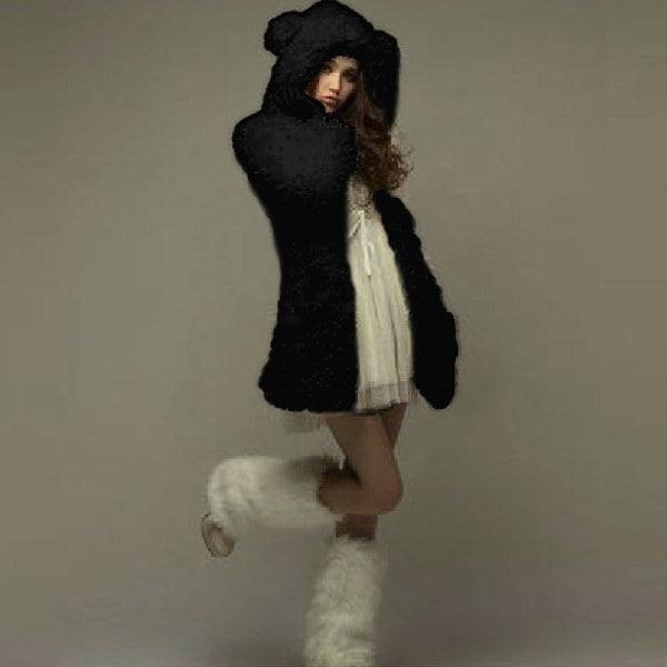 女性のかわいいベア耳カジュアルフリースパーカーフード付きロングコートジャケットアウトウェア(ベーガ、ブラックサイズS-XL)