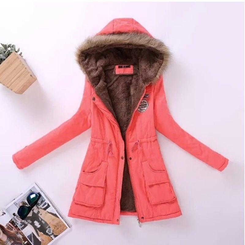 2016年の女性のコートの新しい受賞ソリッドベーシックジャケット厚く暖かいコートのフード付きの毛皮の襟ウエスト服カジュアルレディースジャケットAjt142 15色