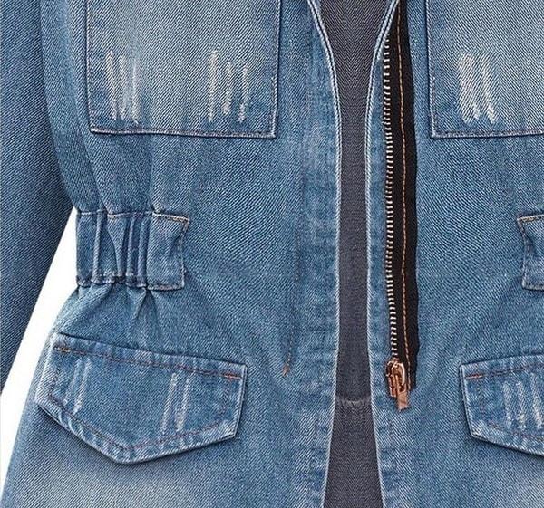 秋の春新ファッション女性スリムロングスリーブデニムコートジャケットレディースファッショントップス冬暖かい