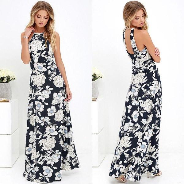 ファッション女性マキシドレスホルターネック花プリントノースリーブサマービーチホリデーロングスリップドレス