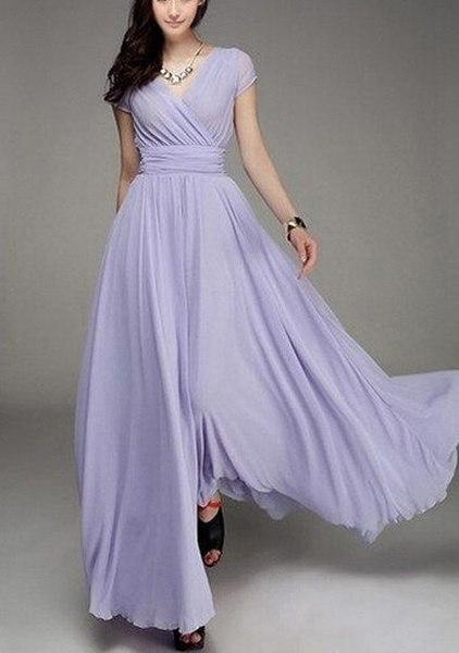 女性のファッションボヘミアンマキシドレスイブニングドレスVネック