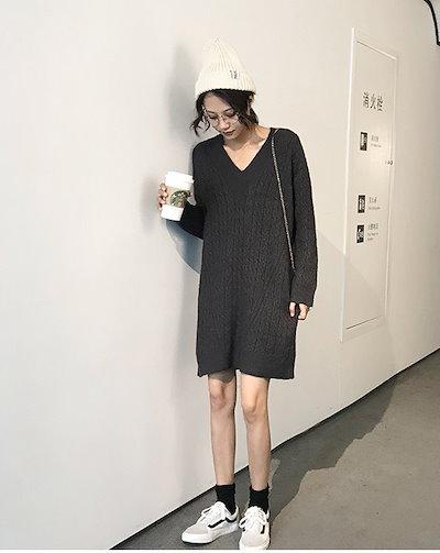 【】レディース ニット ワンピース Vネック 長袖 ひざ上丈 シンプル 大人 カジュアル 大きいサイズ ドレス 結婚式 お呼ばれ 5l BTBA1216