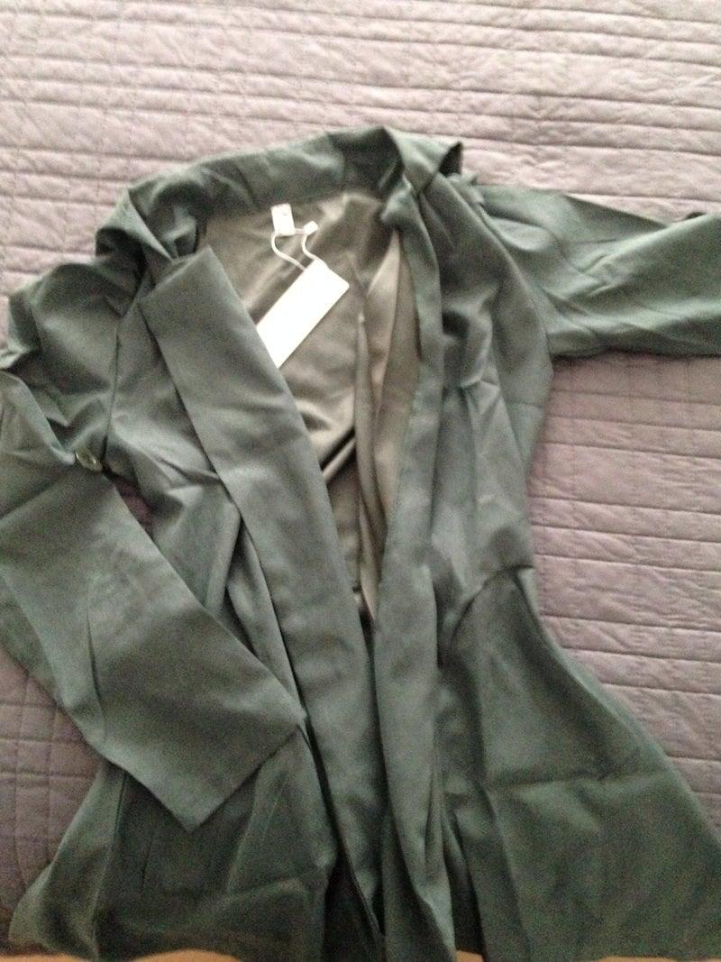 女性アーミーグリーンターンダウンカラー調整長袖ダブルブレストジッパーインテリアコートトレンチA317a 8257