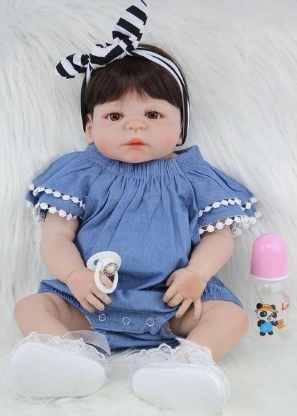 55cmの女の子のボディフルシリコンの生まれ変わりのベビードールのおもちゃ生き生きとした22インチの新生児プリンセス赤ちゃん人形
