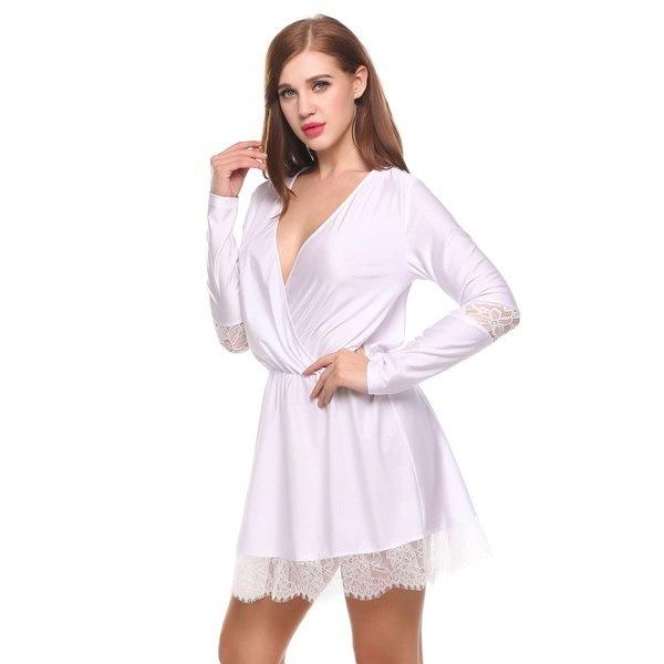 サニーショッピング女性Vネックロングスリーブレースパッチワークセクシーなミニドレス