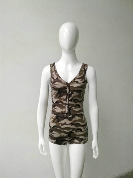 ヨーロッパのファッションCamoflageプリント女性ノースリーブディープVネックショートジャンプスーツロンパース