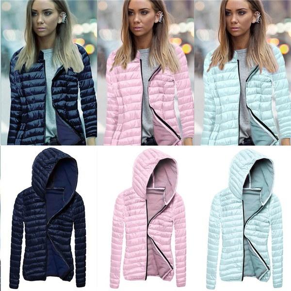新しい秋の冬の女性フード付きの襟ショートコートは、スリムコットンパッド入りジッパージャケットウインドブレーク