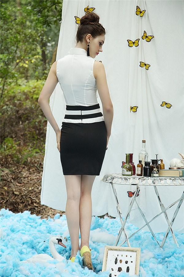 シャツ フリル スレンダーライン ノースリーブ 優雅 ファッション レディーズ女性