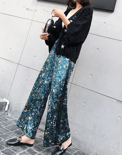 売れ筋☆おすすめ☆ ベルベット ワイドパンツ ロング丈 花柄 ウエストリボン 光沢感 きれいめ