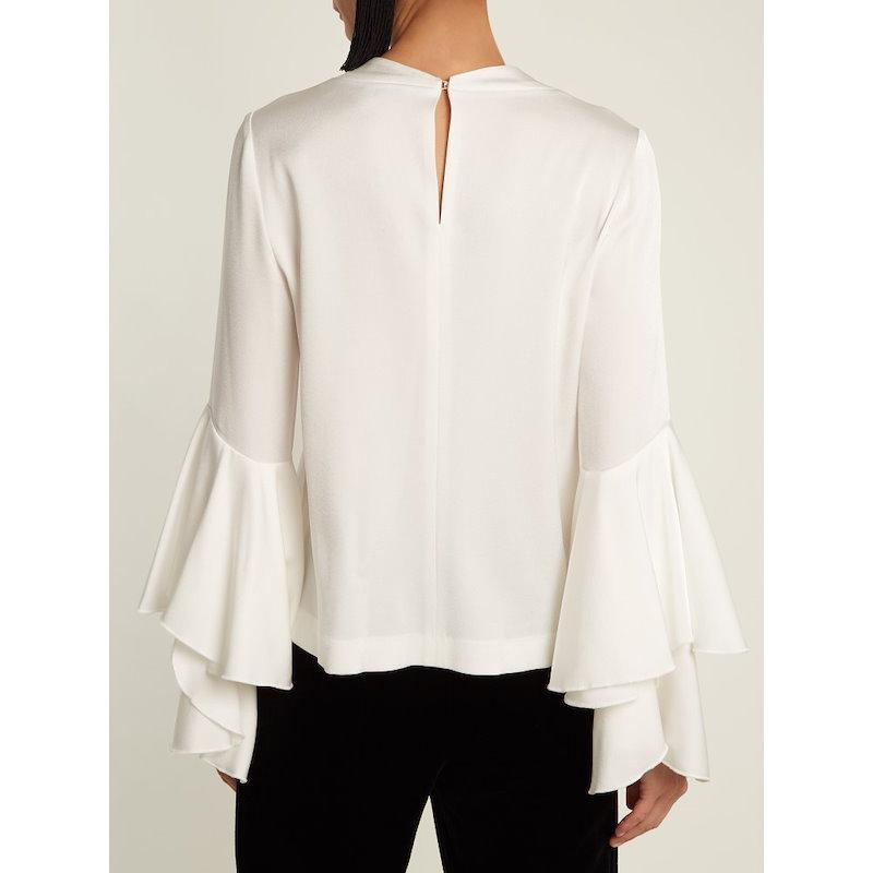 ガルバン レディース トップス ブラウス・シャツ【Bell-sleeve crepe-back satin blouse】White