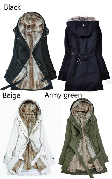 女性の冬フェイクファーライニングファーコート暖かいロングコットンパッド入りジャケット服レディースコートファーアウト