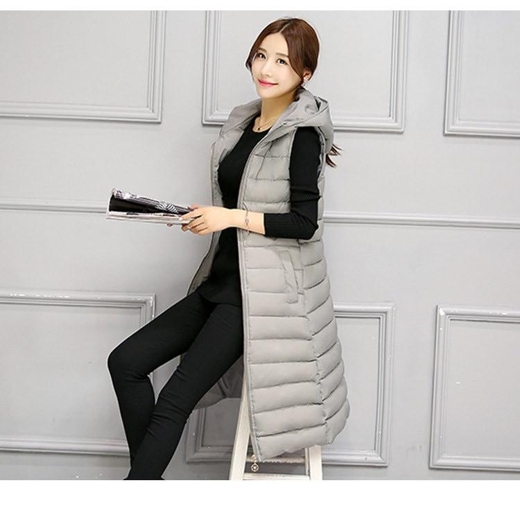 ロングベスト レディースファッション 帽子 ベスト  ジャケット 韓国 ファッション シンプル 純色  ロングタイプ 中綿入りコート 防寒 秋冬新作 大きいサイズ アウター 前開き チョッキ ベスト
