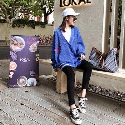 【お取り寄せ商品】ニット 韓国ファッション 原宿系 ブルー スポーティコーデ カーディガン カジュアル お出かけ ゆったり