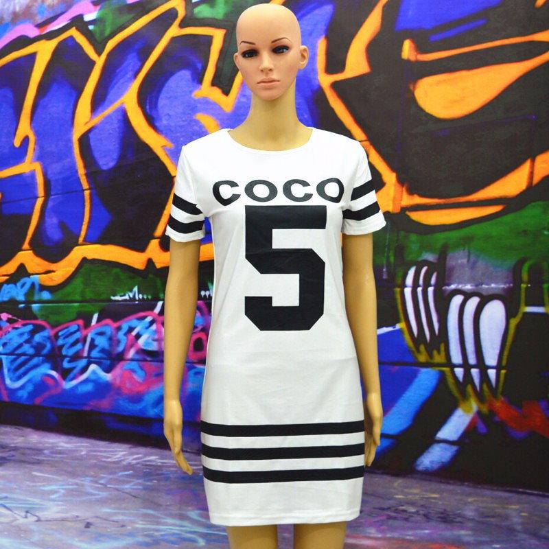 S-xxl プラス サイズ セクシー クラブ ドレス 2016女性夏新白3色ボディコンドレスファッション 5日プリント tシャツ ドレス XD275