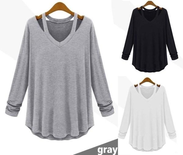 女性のファッションカジュアルロングスリーブVネックコットンティータンクトップTシャツルーズブラウスプラスサイズトップ