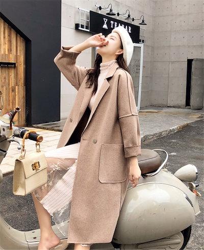 この季節に大活躍✨大人の魅力  韓国ファッション  中・長セクション  ウールコート