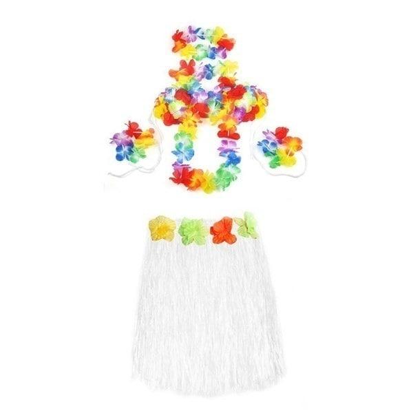 Long Color Hawaiian Tropical Hula Luau Grass Dancer Skirt Bra Flower Headband Bracelet and Necklace