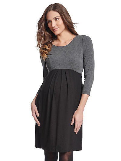 Stitching Color O Neck Long Sleeve Maternity Dress
