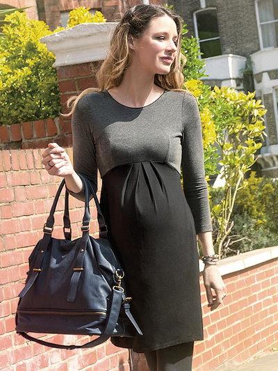 Stitching Color O Neck Long Sleeve Maternity Dress