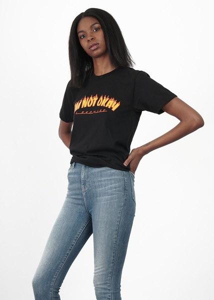 男女兼用私はうまくいない炎プリント面白いTシャツグランジスタイルブラックティーシャツスケーター夏のトップス