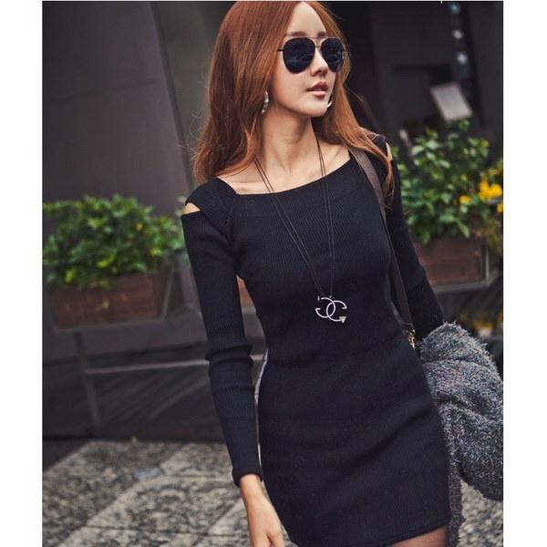 Msセクシーなスカートファッション冬の秋女性の長袖カジュアルボディコンイブニングパーティー包帯ドレスF