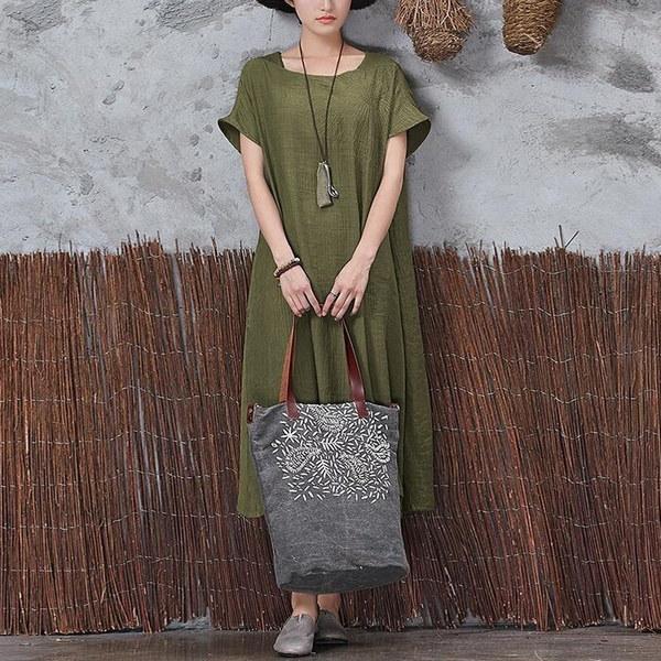 女性エスニックボホショートスリーブソリッドカラーマキシドレスジプシーブラウスシャツプラスサイズ
