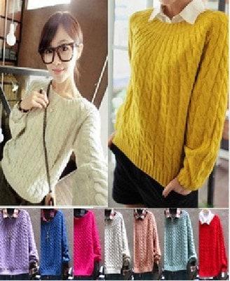 ニット セーター 無地 クルーネック ゆったり 韓国風 学生 厚い 女性 ガールズ ファッション