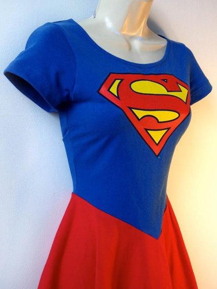スーパーマンドレススーパーガールドレスロッカビリードレスアップ女の子ドレススーパーヒーローハロウィンコスチューム