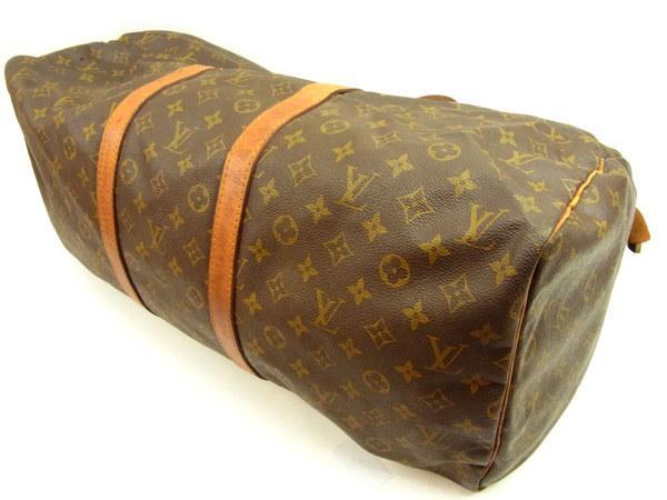 ルイヴィトン Louis Vuitton ボストンバッグ トラベルバッグ レディース キーポル55 モノグラム ブラウン PVC×レザ- 人気 セール 【中古】 Y3562 .