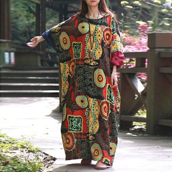 ZANZEA Boho女性オーバーサイズバットウィングスリーブランダムフローラルマキシロングドレスバギー