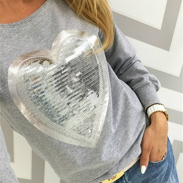 Fashion Autumn Women Shirt Tops Round Neck Sequin Heart Shape Blusas Ropa Mujer Long Sleeve Blouse C