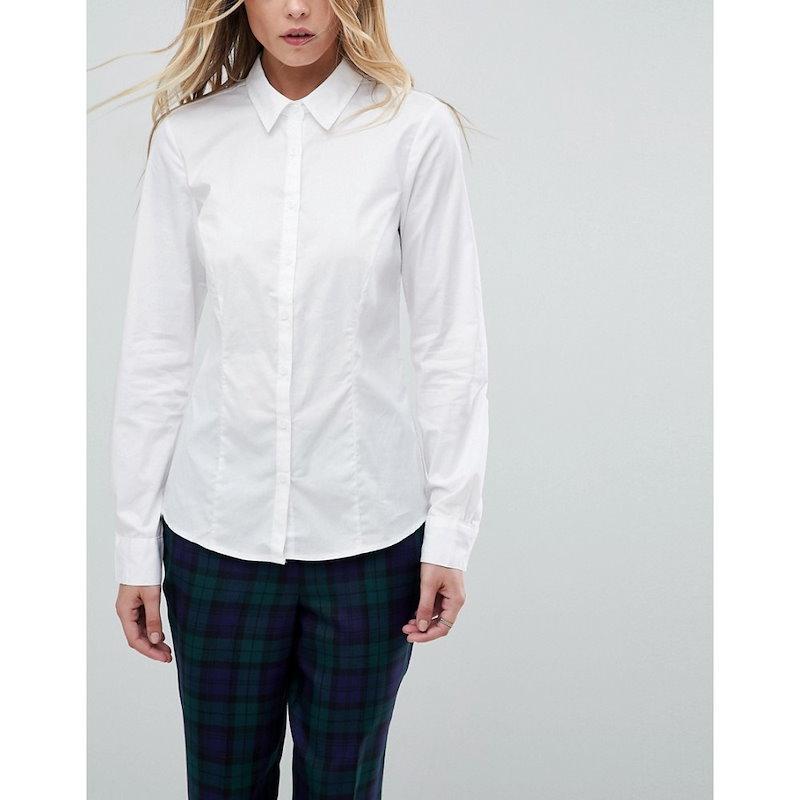 エイソス レディース トップス ブラウス・シャツ【ASOS Long Sleeve Shirt in Stretch Cotton】White