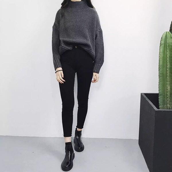 ワイドプルオーバー セーター ニットトップス 無地 ハイネック 大きいサイズ レディース ショート丈 厚地 あったか 不規則裾 インナー