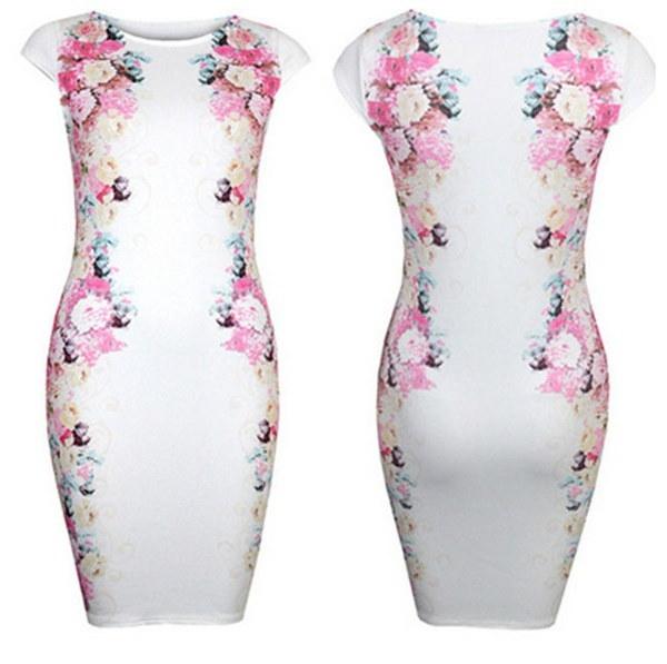 2017夏の女性カジュアルな女性のドレスミニドレスの印刷花白いドレスLJ040W