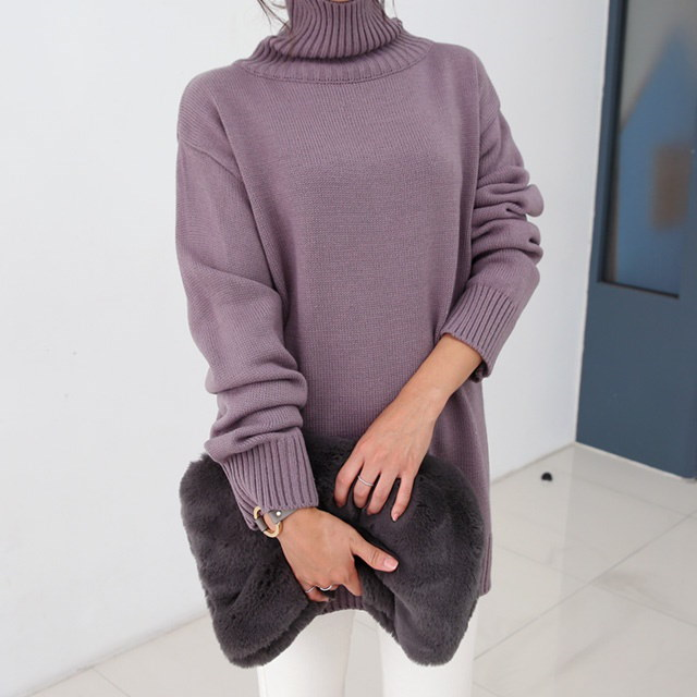 Loose Pitch Turtleneck Neck Polar Long Knit Daily good basic mood turtleneck loose long knit