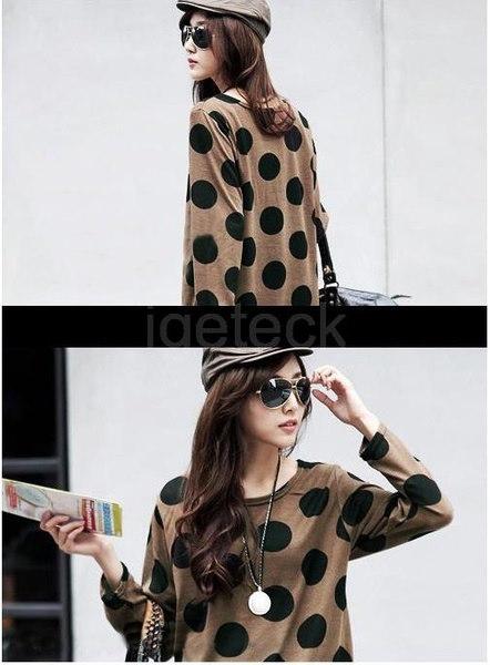 韓国ファッションニットロングシャツSlouchy Tシャツセクシーな女性ポルカドットプルオーバーカジュアルトップス