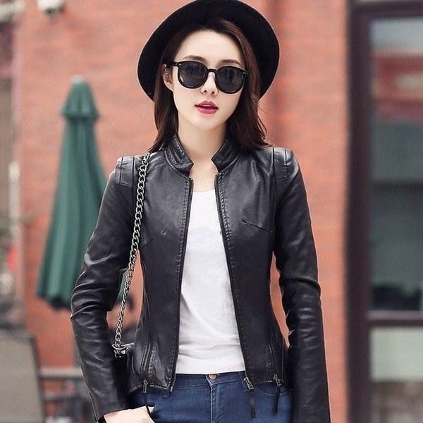 女性のセクシーなコートスタンドカラースリムフィットショートアウターレザージャケットとコート
