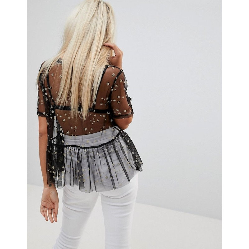 グラマラス レディース トップス【Glamorous Petite Top In Sheer Mesh With Metallic Embroidered Stars】Black