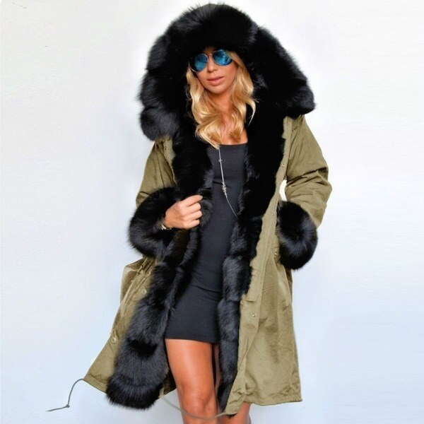 4 Colors Ladies Women Faux Fur Coat Autumn Winter Warm Hood Parka Long Trench Jacket Outwear