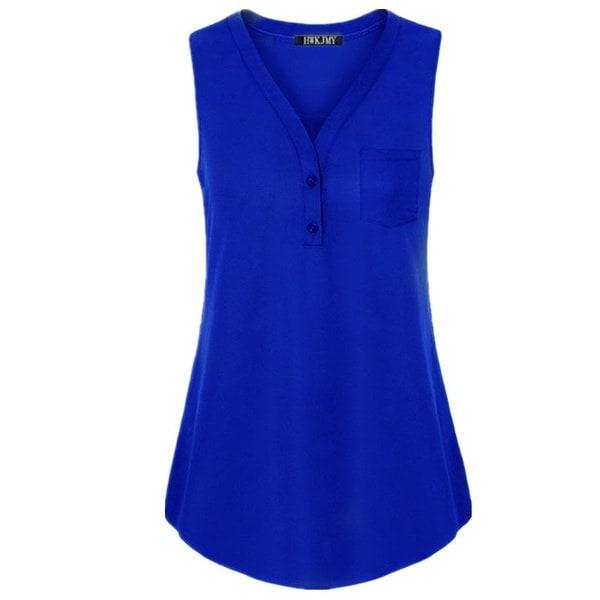 レディースファッションソリッドカラーVネックボタンポケットノースリーブシャツセクシールーズカジュアルタンクトッププラスSi