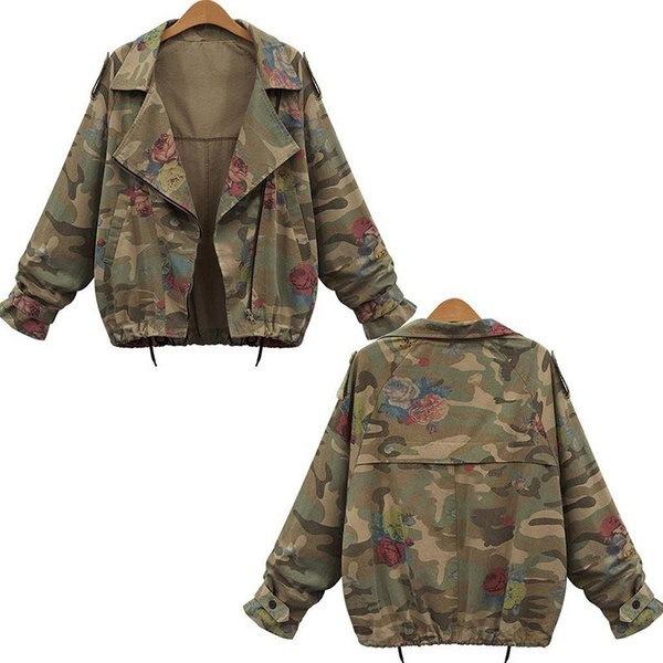 新しいファッション女性の迷彩ジャケットコートジッパーデニムコート