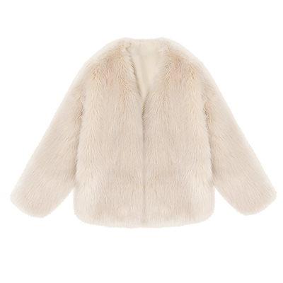 レディース ジャケット エコファー ショート丈 ノーカラー アウター ふわもこ きれいめ 上品 大人可愛い デート およばれ 冬新作